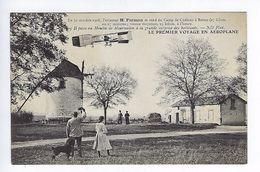 CPA Le Premier Voyage En Aéroplane 1908 Farman Il Passe Au Moulin De Mourmelon N° 3 - Aviateurs