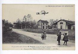 CPA Le Premier Voyage En Aéroplane 1908 Farman Il Passe à Wez Thuizy Acclamé Par Les Enfants N° 9 - Aviateurs