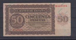 EDIFIL 420.   50 PTAS 21 DE NOVIEMBRE DE 1936 SERIE B. CONSERVACIÓN MBC+ - [ 3] 1936-1975 : Régence De Franco