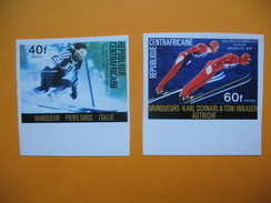 Timbre Non Dentelé  N° 262 Et 263  Vainqueurs Aux J.O. D'hiver à Innsbruck  1976 - Centrafricaine (République)