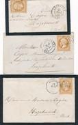 M-460:FRANCE:    3 Enveloppes Avec N°13A Et 13B(2) - 1853-1860 Napoleon III