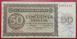 EDIFIL 420a.   50 PTAS 21 DE NOVIEMBRE DE 1936 SERIE C. CONSERVACIÓN MBC+ - [ 3] 1936-1975 : Régence De Franco