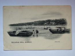 INDIA BOMBAY MUMBAI Malabar Hill Fisherman Boat Old Postcard - India