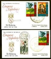 LOT 2 FDC NAPOLÉON 1er- STE HELENE-  GRAND CAD STE HÉLENE DU 5-5-71 + TIMBRES FRANCE  CAD ILLUSTRÉ - Napoleon