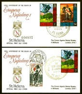 LOT 2 FDC NAPOLÉON 1er- STE HELENE-  GRAND CAD STE HÉLENE DU 5-5-71 + TIMBRES FRANCE  CAD ILLUSTRÉ - Napoleone