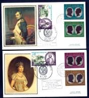 LOT 2 FDC NAPOLEON 1er ET JOSÉPHINE SUR SOIE- SAINTE-LUCIE- 4 TIMBRES DENTELÉS - CAD DU 22-9-69 + TIMBRE FRANCAIS - Napoleon