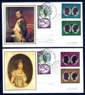 LOT 2 FDC NAPOLEON 1er ET JOSÉPHINE SUR SOIE- SAINTE-LUCIE- 4 TIMBRES DENTELÉS - CAD DU 22-9-69 + TIMBRE FRANCAIS - Napoleone