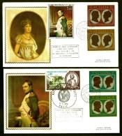 LOT 2 FDC NAPOLEON 1er ET JOSÉPHINE SUR SOIE- SAINTE-LUCIE- 4 TIMBRES DENTELÉS- CAD 22-9-69 + TIMBRE FRANCAIS + MONACO - Napoleon