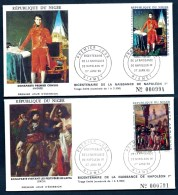 LOT 4 FDC NAPOLÉON 1er- NIGER-  TIMBRES DENTELÉS 50- 100- 150- 250 FR- CAD NIAMEY DU 27-01-1969- 2 SCANS - Napoleone