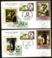SÉRIE 6 FDC NAPOLEON 1er- YEMEN- TIMBRES NON DENTELÉS- CAD AJACCIO DU 16-8-69 + SANA'A + 2 TIMBRES FRANCE- - Napoleon