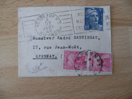 Lettre Taxee Paire Timbre Taxe 5 F Gerbe Gerbes Sur Lettre 5 F Marianne Gandon 5 F Bleu - Postmark Collection (Covers)