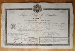 Restauration Et Cent-Jours . Légion De L'Indre . Congé De 1819 . Campagnes De La Guadeloupe 1814 Et 1815 . 66e De Ligne - Documents