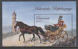 AUSTRIA, 2017, MNH, HISTORICAL POSTAL TRANSPORT, WAGONS, HORSES, S/SHEET - Transport