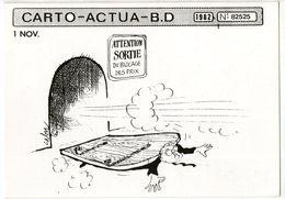 CPM     HUMOUR NOIR CARTO ACTUA B D 1982  1 NOV       ILLUSTR. CABU     BLOCAGE DES PRIX - Satirische