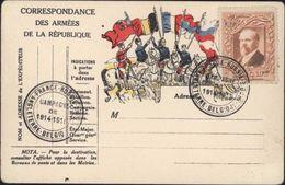 Guerre 14 Carte Drapeaux Armées De La République Cavalier Anglais Français Russe Serbe Vignette Expo Philatélique 1912 - Postmark Collection (Covers)