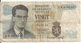 BELGIQUE 20 FRANCS 1964 VF P 138 - [ 2] 1831-... : Belgian Kingdom