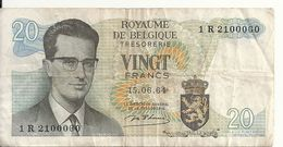 BELGIQUE 20 FRANCS 1964 VF P 138 - [ 2] 1831-... : Royaume De Belgique