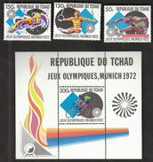 Tchad 1972 / Olympic Games Munich / Gymnastics, Athletics, Swimming, Cycling / MInt Block + Stamps - Sommer 1972: München