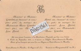 VP11.246 - SAINT ETIENNE DE MONTLUC X TREUTRAN - Faire - Part De Mariage De Mr L. HERVE & Melle M. GOURDON - Mariage