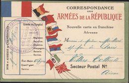 Guerre 14 CP Correspondance Armées République Drapeaux Commission Régionale Militaire Contrôle Télégrammes Chalons - Postmark Collection (Covers)