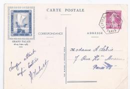 Entier Postal Semeuse  Exposition Philatelique Paris Pexip 1937 - Standard- Und TSC-AK (vor 1995)