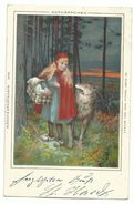 Rothkäppchen Märchen-AK Litho 1899 - Märchen, Sagen & Legenden