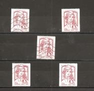 France Oblitéré 2013  N° 4779   Lettre Prioritaire  20 G  Rouge   Avec N° Noir à Gauche ( 5 Exemplaires ) - 2013-... Marianne Di Ciappa-Kawena