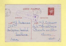 Casablanca Postes Avion - Surtaxe Aerienne Perçue 1fr - Entier Type Petain - 1942 - Postmark Collection (Covers)