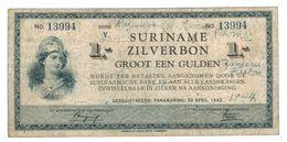 """Suriname 1 Gulden , Zilverbon, 1942 , """"short Snorter From 1944"""". F. Rare. - Surinam"""