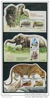 Sri Lanka 2013 Yala National Park Animals Elephants Birds Turtle Leopard Crocodile 3 SS MNH - Elefanten