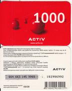 KAZAKHSTAN - Activ Prepaid Card 1000 KZT, Exp.date 09/08, Used - Kazakhstan