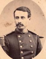 Nimes Homme En Uniforme Militaire Constant Lacombe Ancienne Photo CDV Bert 1870's - Photographs