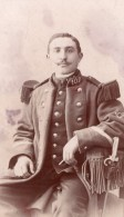 Chaumont Homme En Uniforme Militaire Ancienne Photo CDV Lancelot 1900 - Guerra, Militares