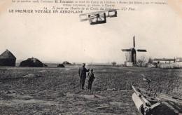 Aviation Camp De Chalons Henry Farman En Vol Moulin A Vent Ancienne Carte Postale CPA Vers 1908 - ....-1914: Precursors