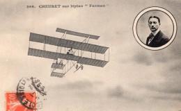 France Aviation Leon Cheuret Sur Biplan Farman Ancienne Carte Postale CPA Vers 1911 - ....-1914: Précurseurs