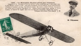 France Aviation Jules Vedrines Sur Monoplan Morane Ancienne Carte Postale CPA Vers 1911 - ....-1914: Precursors