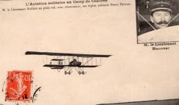 Camp De Chalons Aviation Lieutenant Mailfert Sur Biplan Farman Ancienne Carte Postale CPA Vers 1911 - ....-1914: Precursors