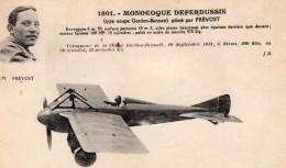 France Aviation Maurice Prevost Sur Monoplan Deperdussin Ancienne Carte Postale CPA Vers 1913 - ....-1914: Precursors