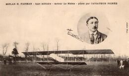 France Aviation Alphonse Poiree Sur Biplan Farman Militaire Ancienne Carte Postale CPA Vers 1912 - ....-1914: Precursors