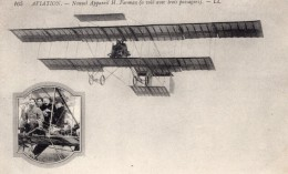 France Aviation Bipan Henry Farman Et Passagers Ancienne Carte Postale CPA Vers 1910 - ....-1914: Precursors