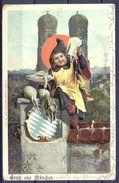 1901 ALEMANIA - MÜNICH , TARJETA POSTAL CIRCULADA , CERVEZA , BREWERIANA - Szenen & Landschaften