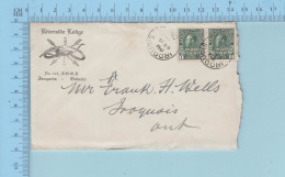 Canada -  War Tax Pair 1¢ Stamp  #MR1 Riverside Masonic Lodge No 145 + Sympathy Letter Iroquois Ontario - 1911-1935 Règne De George V