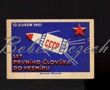 53-23 CZECHOSLOVAKIA 1961 Cosmonautics - The First Person's Flight To Space April 12, 1961 Spacecraft With CCCP - Matchbox Labels
