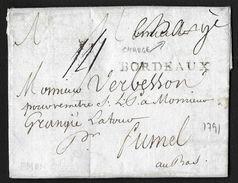 MARQUE CHARGE EN MANUSCRIT BORDEAUX GIRONDE 1791 POUR FUMEL LENAIN N°22 42X4 INDICE 15 - Marcophilie (Lettres)
