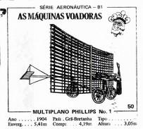 BUBBLE GUM / CHEWING GUM: GORILA - AERONAUTICAL SERIES / (2) FLYING MACHINES - 050 MULTIPLANO PHILLIPS No. 1 - Vieux Papiers