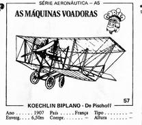 BUBBLE GUM / CHEWING GUM: GORILA - AERONAUTICAL SERIES / (2) FLYING MACHINES - 057 KOECHLIN BIPLANO - DU PISCHOFF - Vieux Papiers