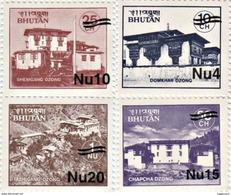 MONASTERIES SERIES SURCHARGED 4-STAMP SET BHUTAN 2001 MINT MNH - Boeddhisme