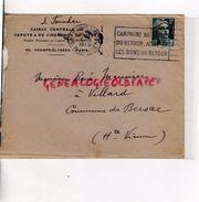 87- BERSAC- ENVELOPPE CAISSE CENTRALE DEPOTS VIREMENTS TITRES-60 CHAMPS ELYSEES PARIS-A RENE MEUNIER A VILLARD-1945 - Banque & Assurance