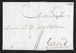 MARQUE RONDE BORDEAUX GIRONDE LENAIN N°20 1787 POUR GAND BELGIQUE INDICE 16 - 1701-1800: Précurseurs XVIII