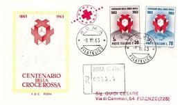 Fdc Rodia : CROCE ROSSA 1963 ; Raccomandata; AF_Roma - F.D.C.